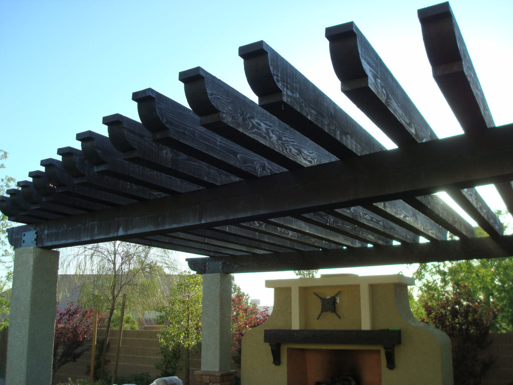 Close-up of Wood Slat Patio Cover