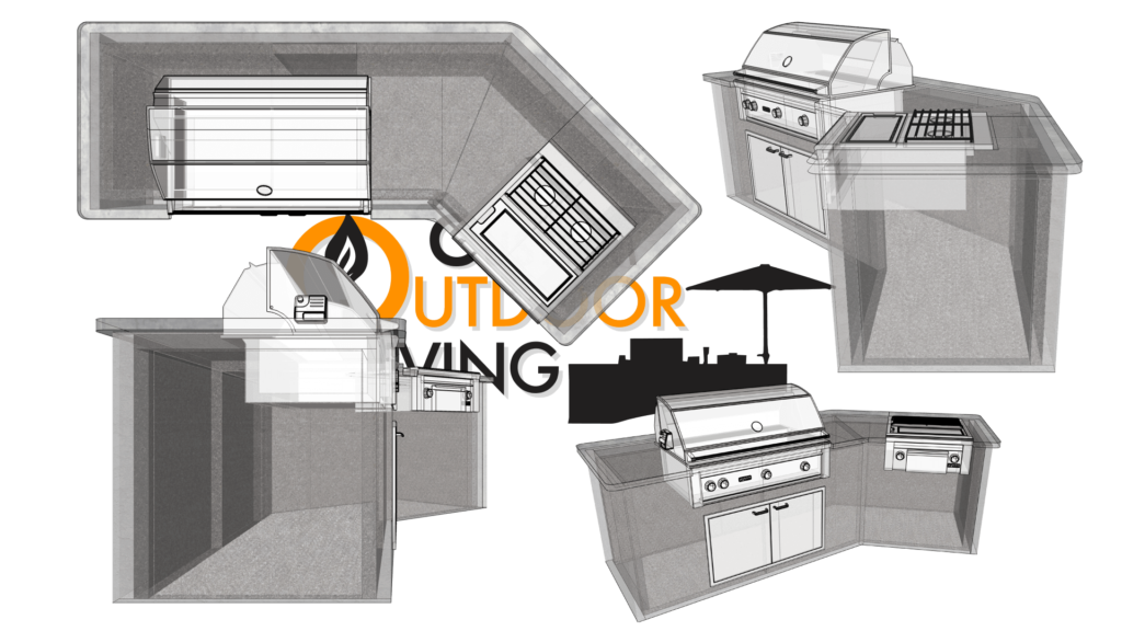Compact Lazy-L Shape Outdoor Kitchen Configuration with Barbecue Grill and Double Sideburner Drawing - Custom Outdoor Living of Las Vegas, Nevada